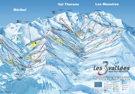 Les Menuires, Méribel and Val Thorens ski map