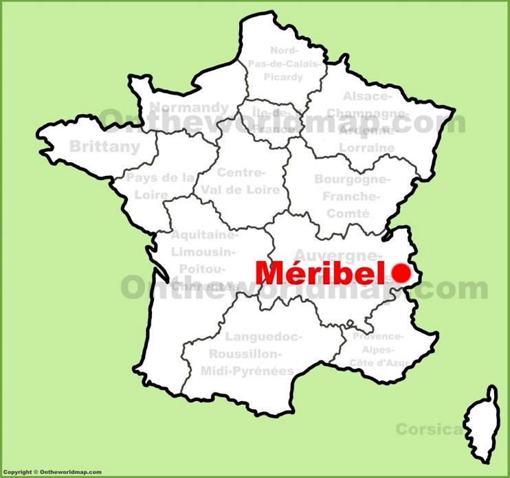 Meribel location on the France map