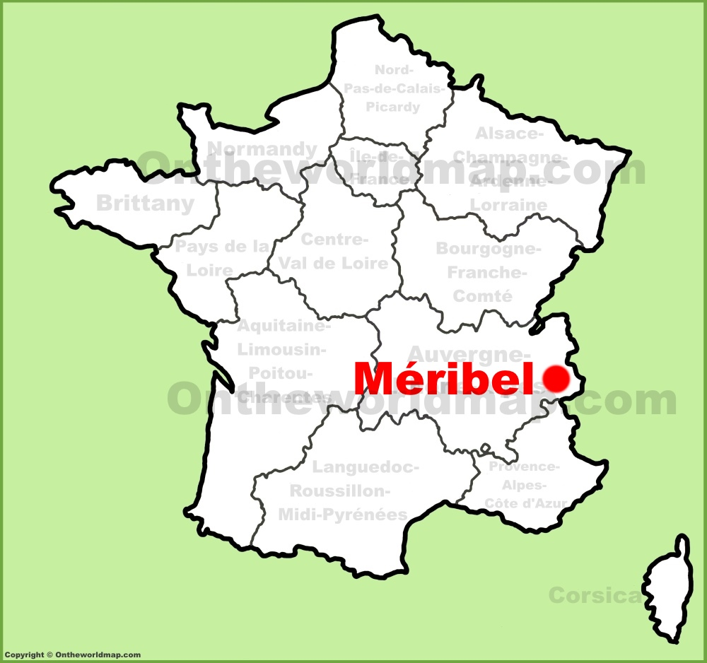 Meribel location on the France map