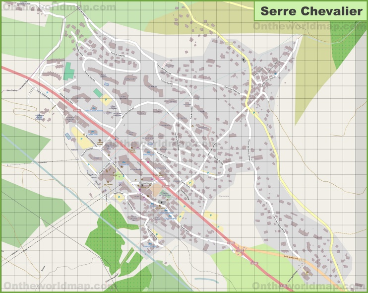 Large detailed map of Serre Chevalier