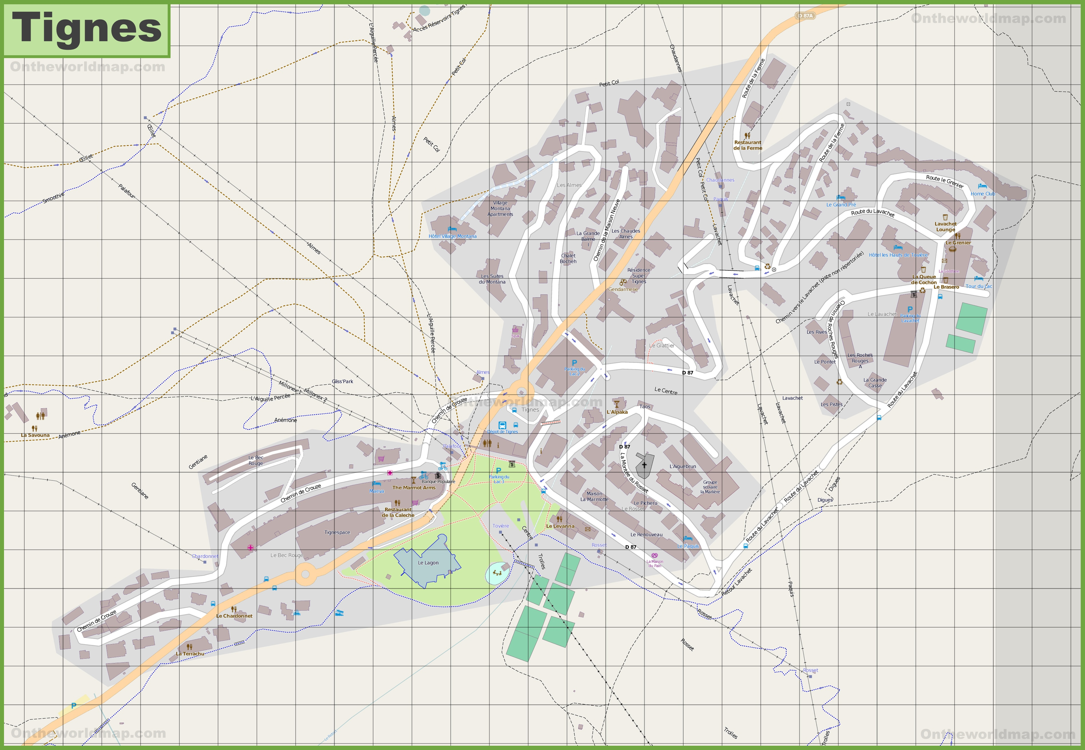 Large detailed map of Tignes