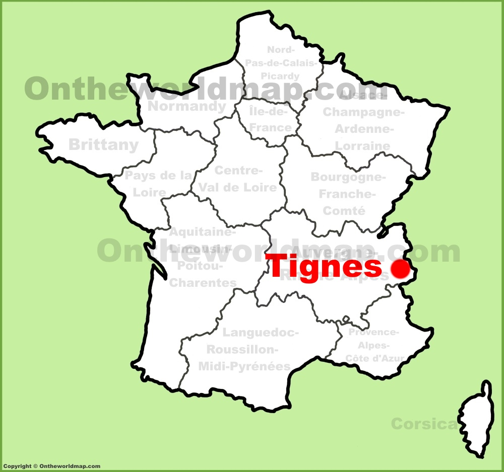 Tignes location on the France map
