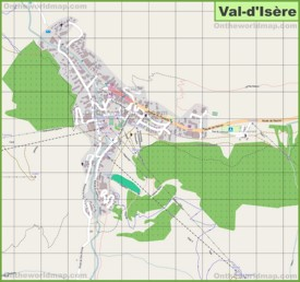 Large detailed map of Val-d'Isère