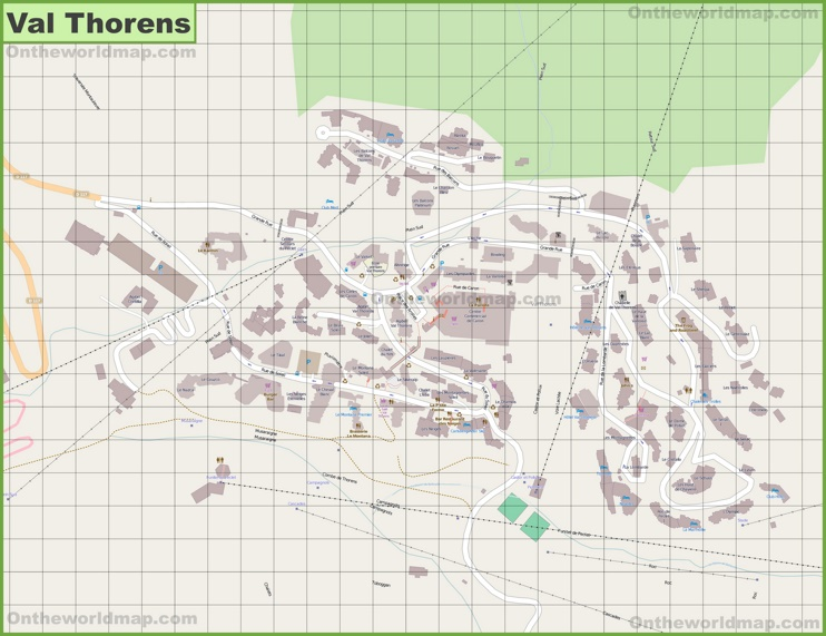 Large detailed map of Val Thorens