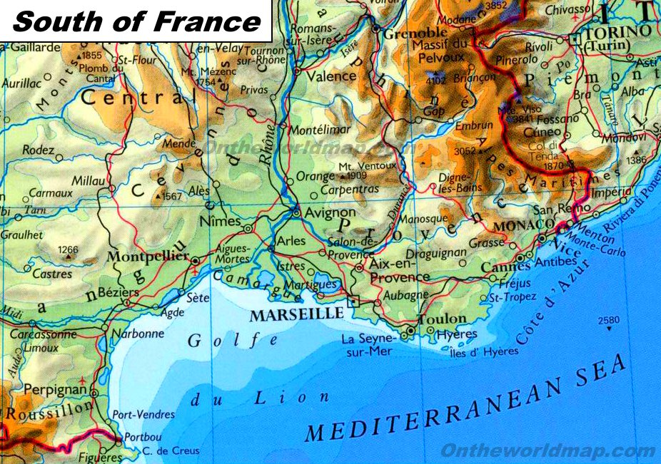 Map South Of France.South Of France Map