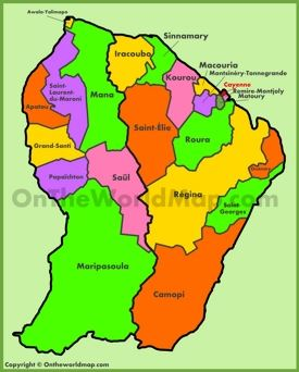 Administrative map of French Guiana