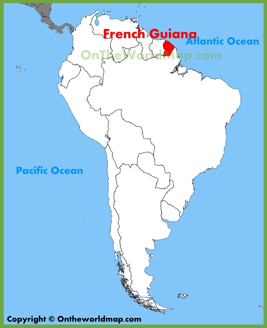 French Guiana Map French Guiana location on the South America map