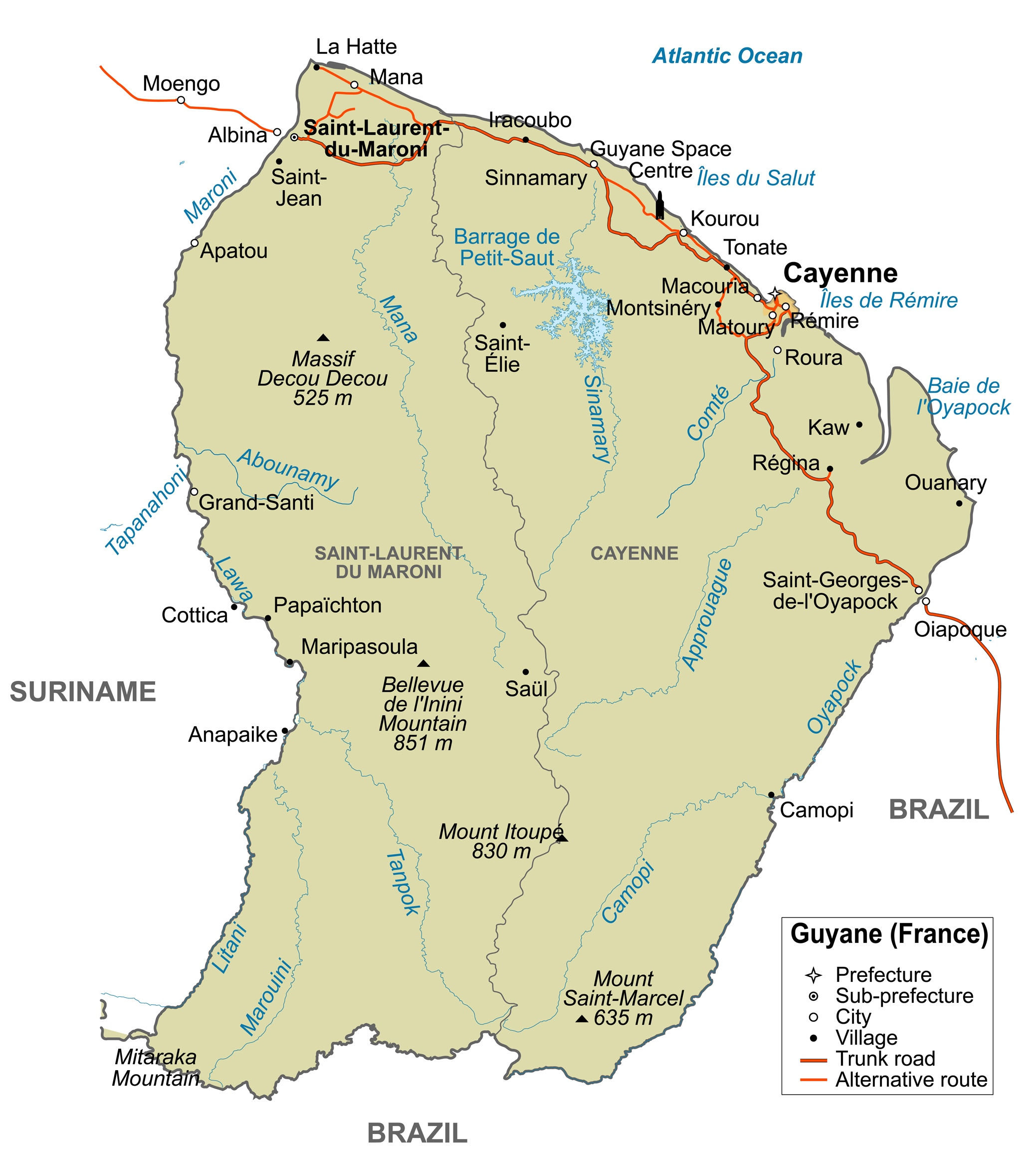 Map Of France Roads.French Guiana Road Map