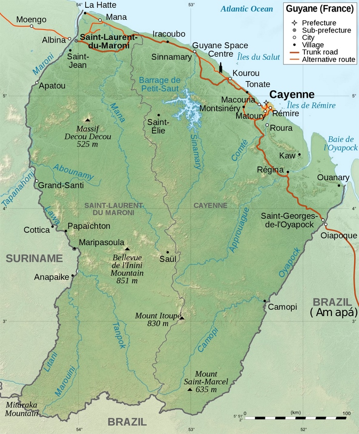 Large detailed map of French Guiana