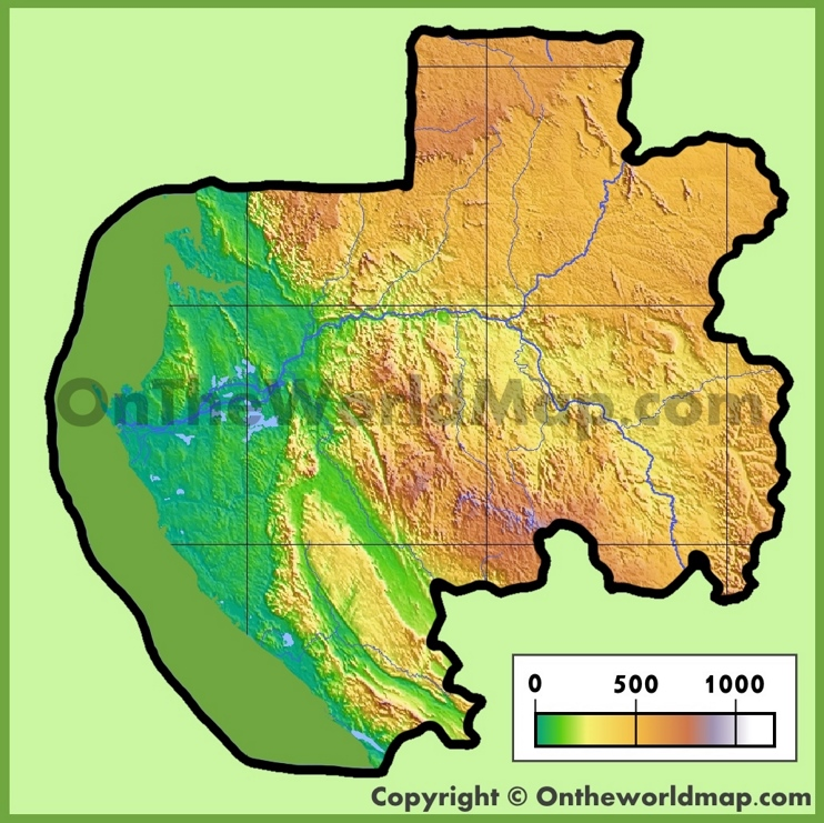 Gabon physical map