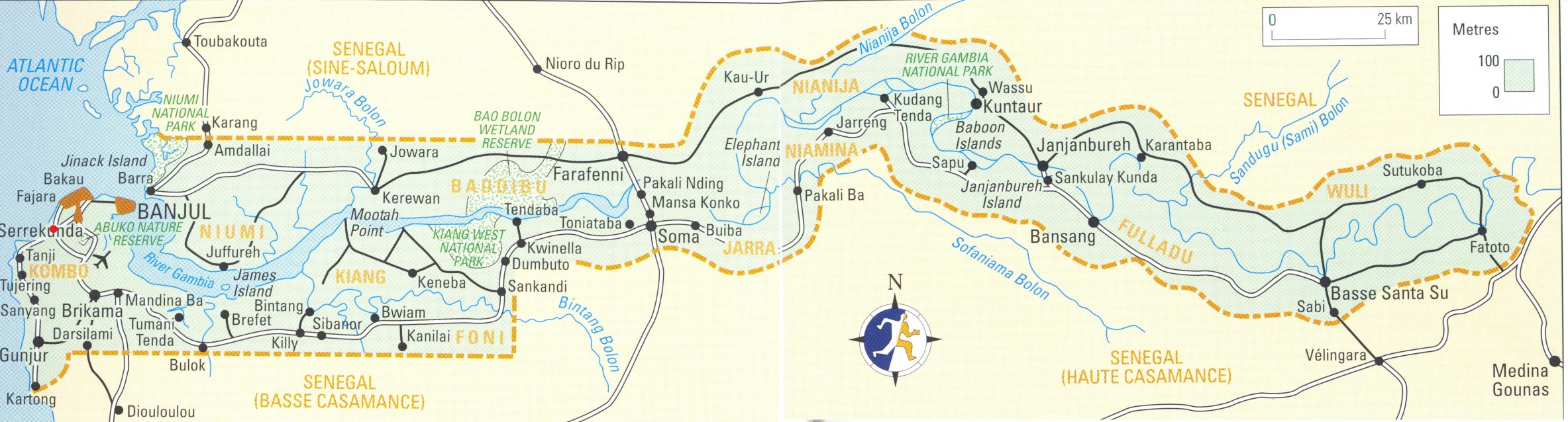 Large detailed map of Gambia with cities