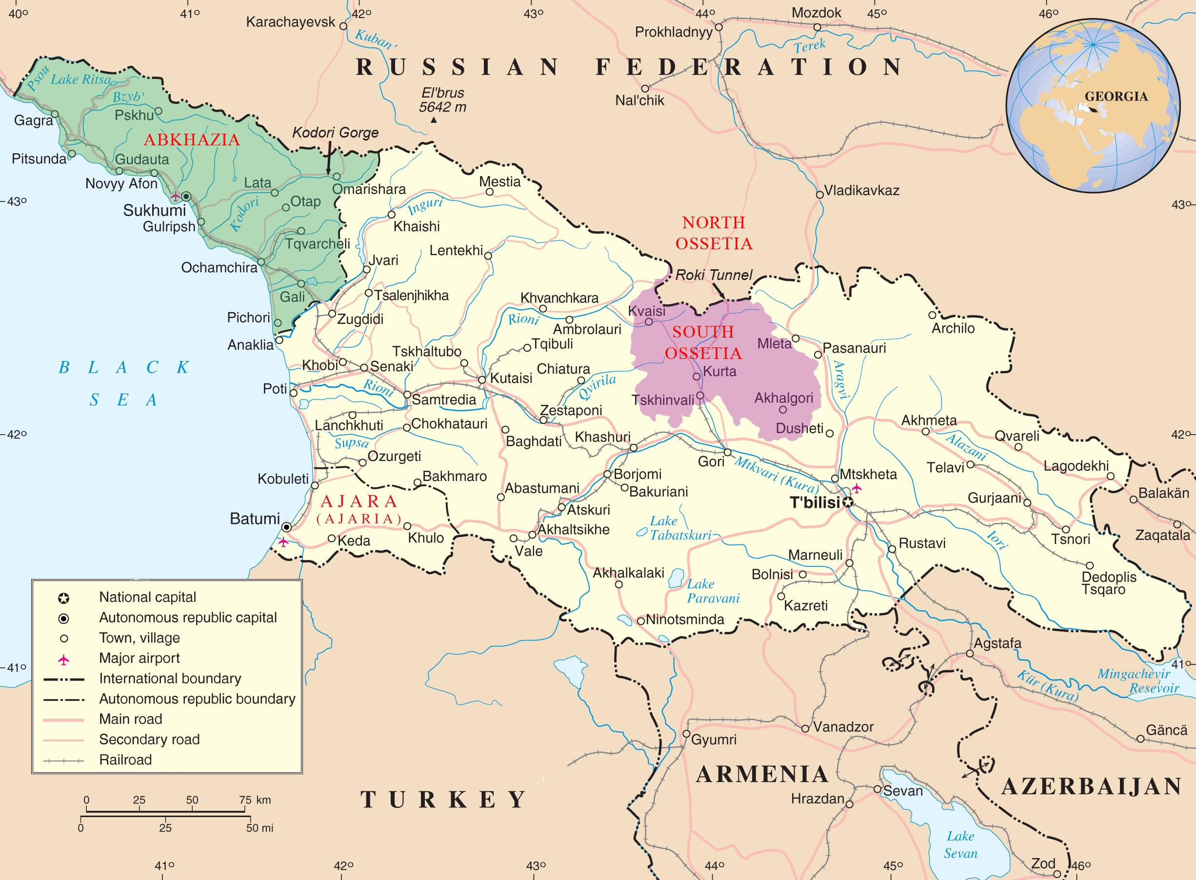 Abkhazia and South Ossetia on the map of Georgia