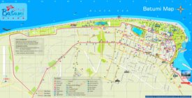 Batumi hotels and sightseeings map
