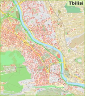 Large detailed map of Tbilisi