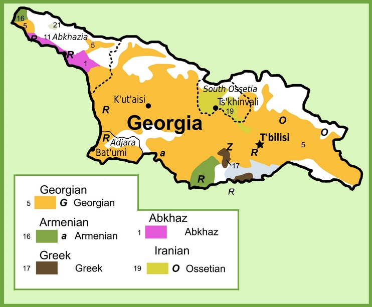 Map of ethnic groups in Georgia