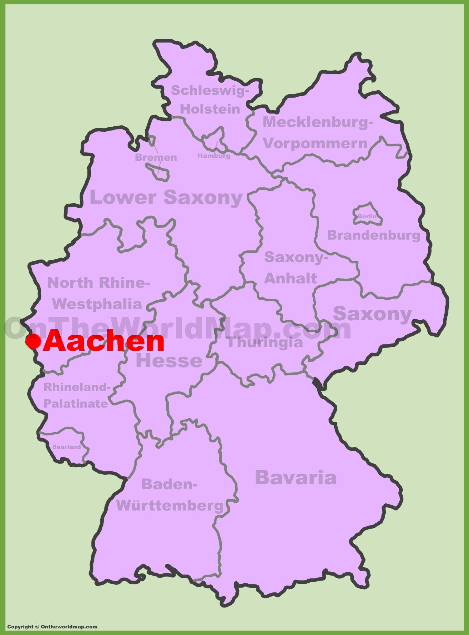 Aachen Location On The Germany Map - World map germany