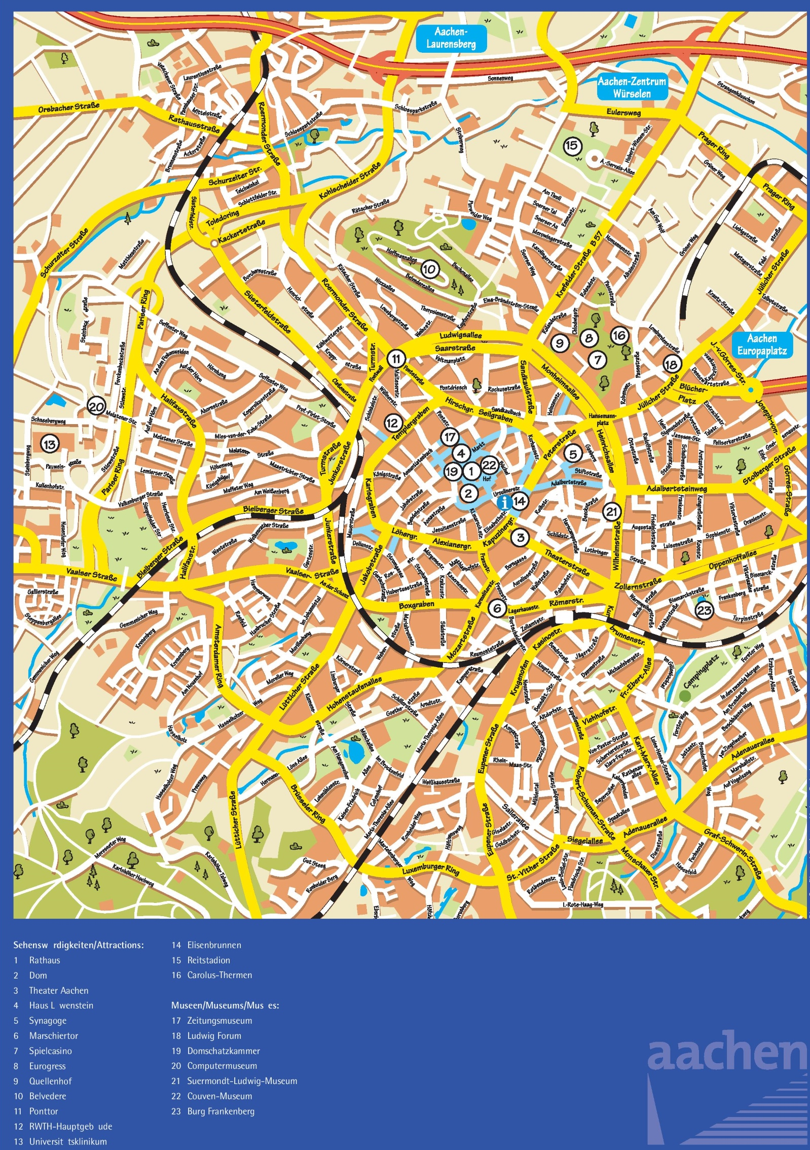 Aachen sightseeing map