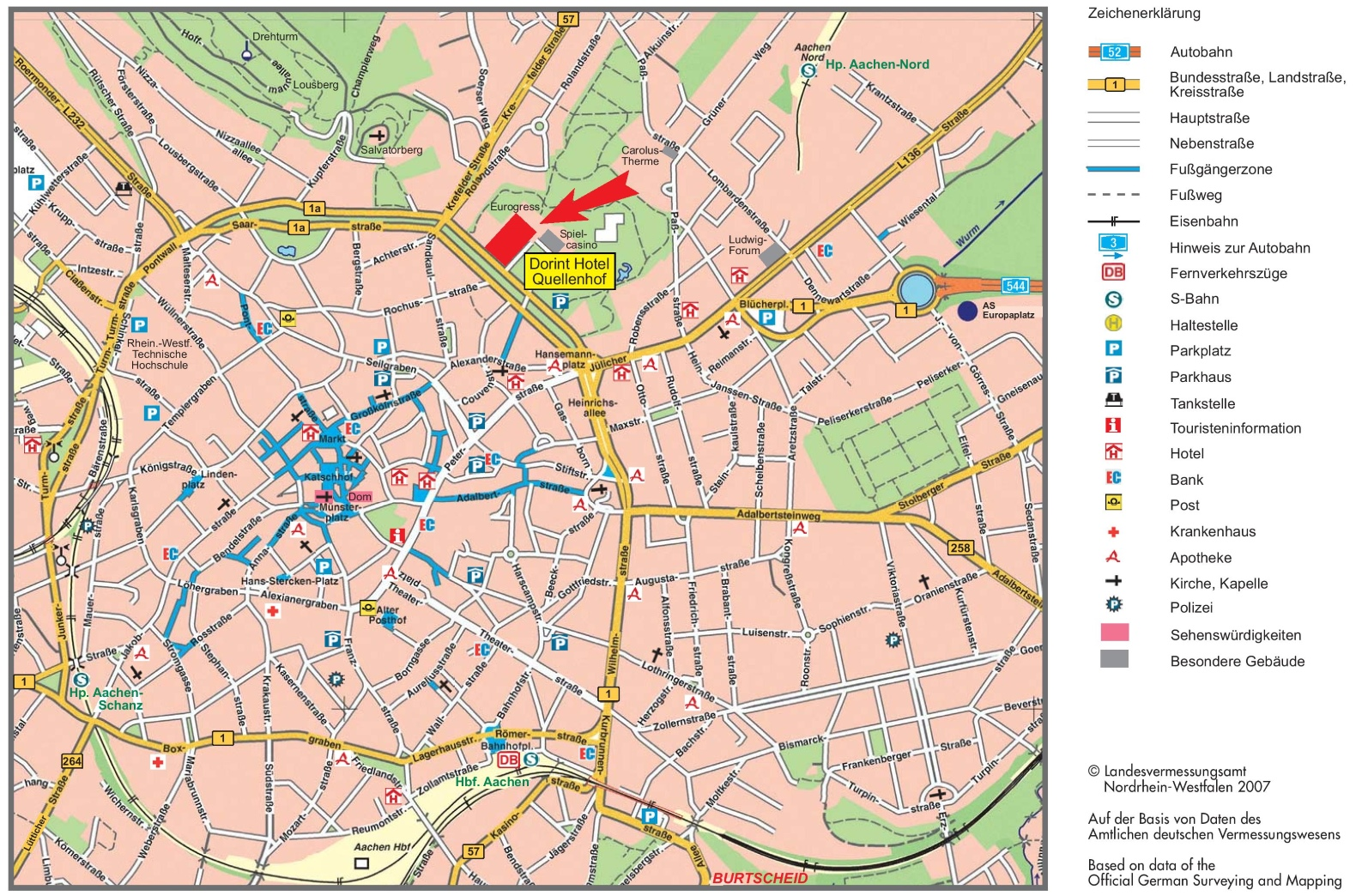 Aachen Germany Map Aachen tourist map Aachen Germany Map