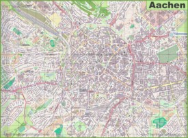 Large detailed map of Aachen