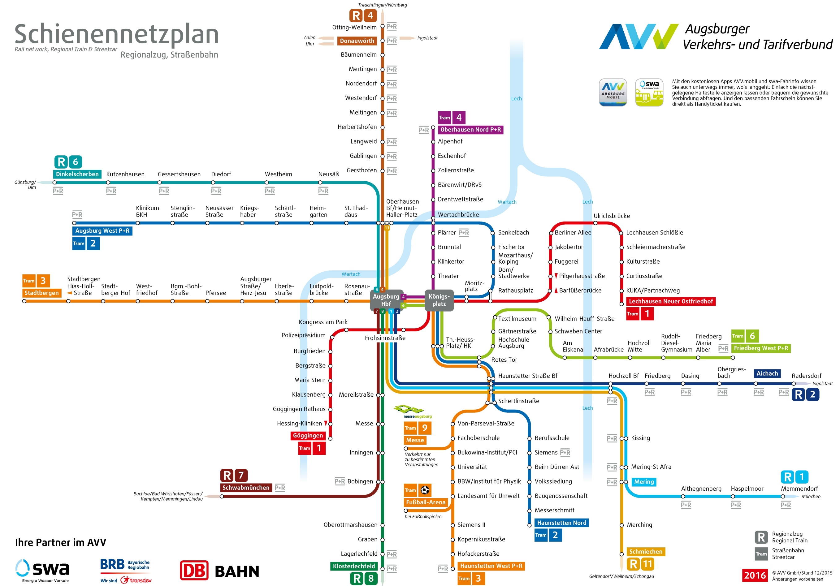 Augsburg rail map