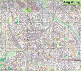 Large detailed map of Augsburg