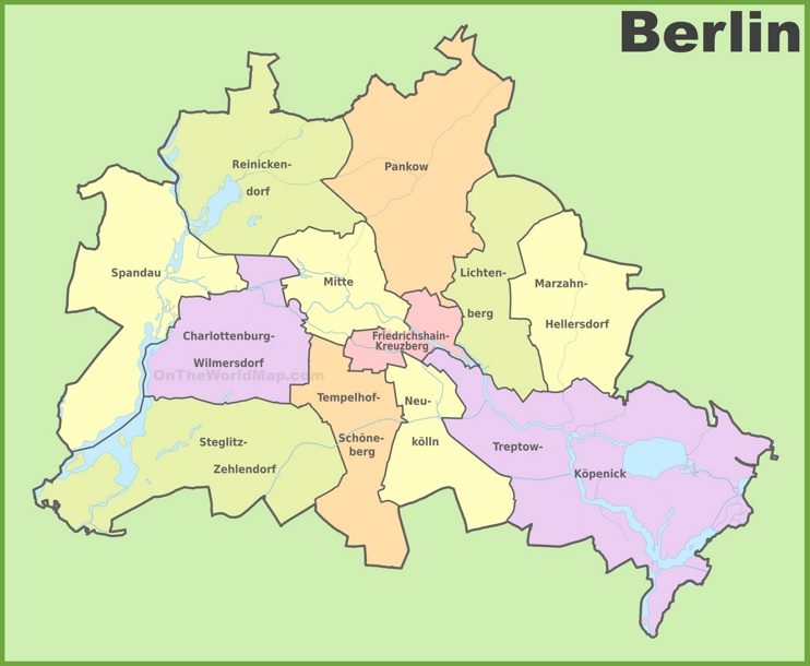 Administrative divisions map of Berlin