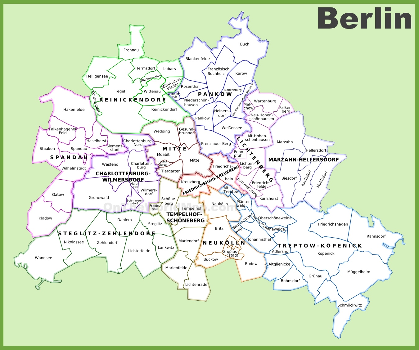 Map Of Berlin Germany Berlin districts map