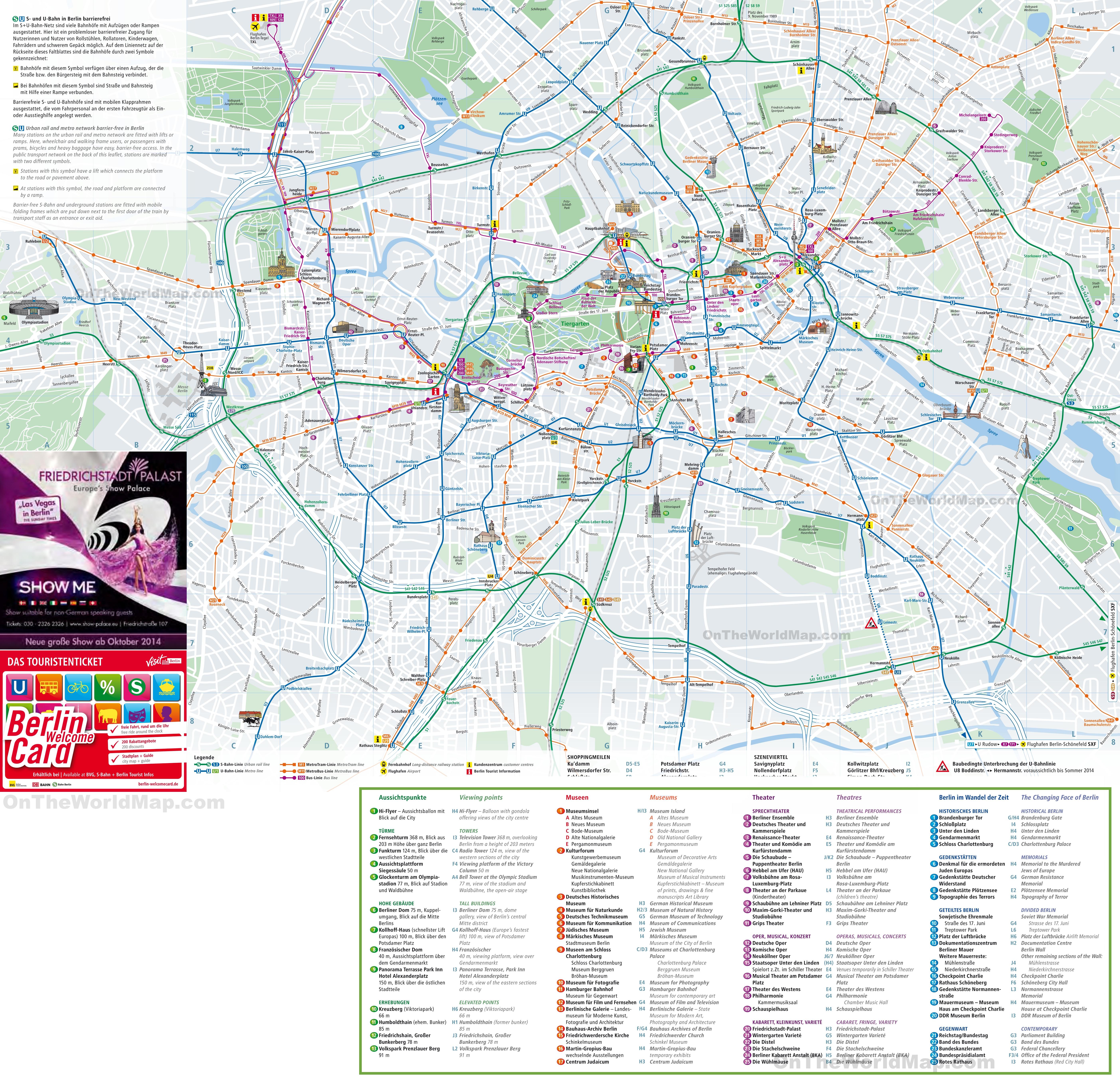 Berlin Tourist Map Berlin tourist attractions map