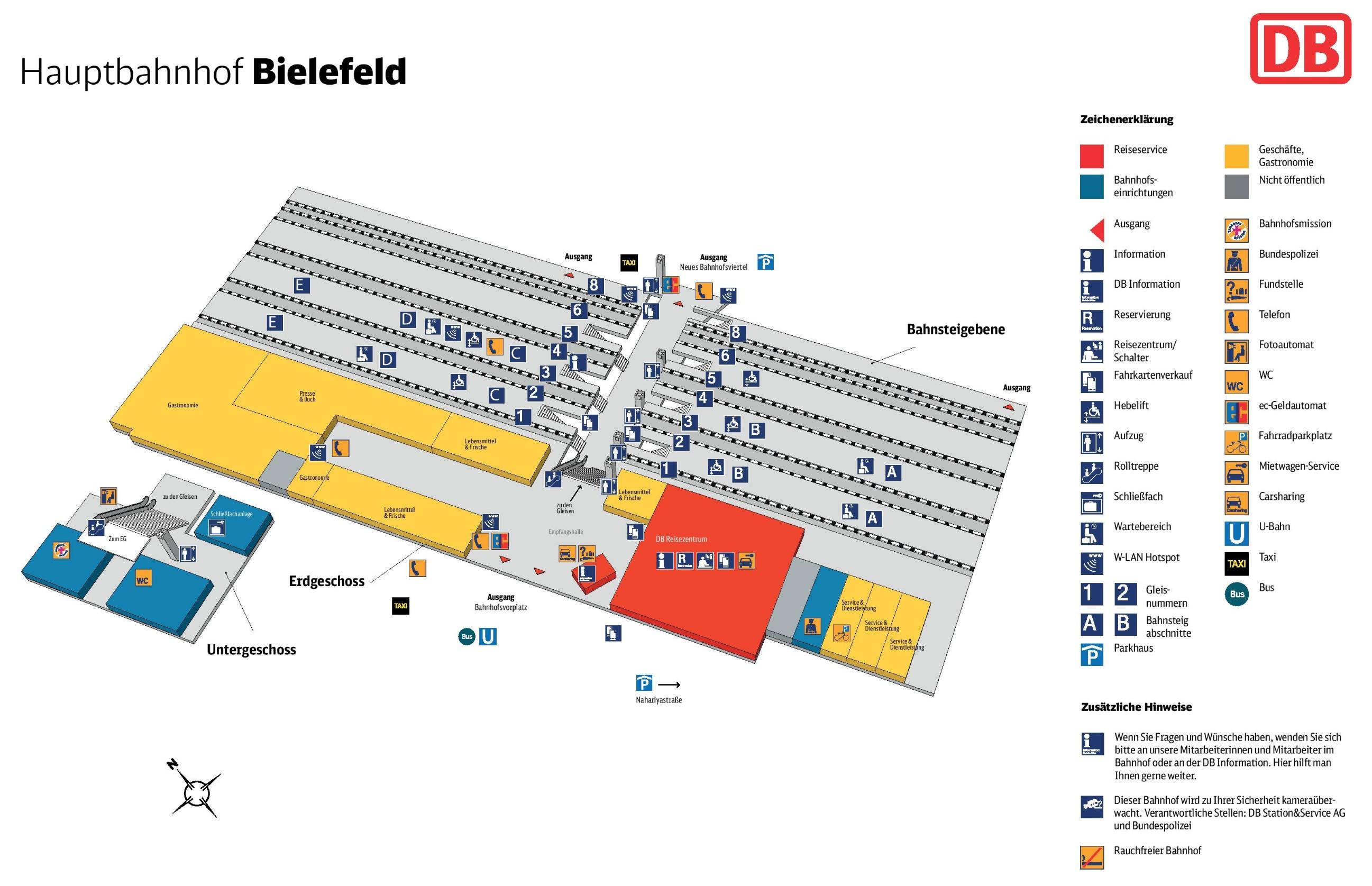 Bielefeld hauptbahnhof map railway station