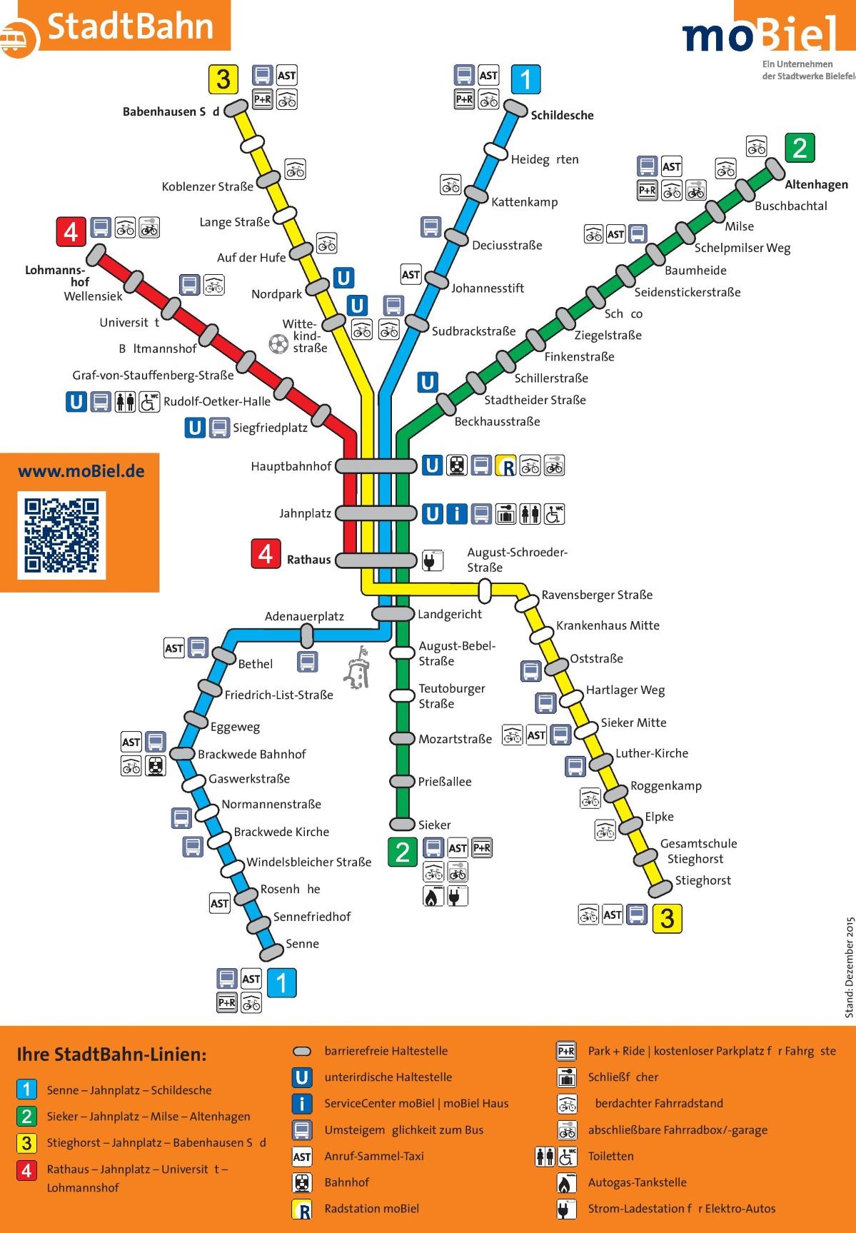Bielefeld rail map