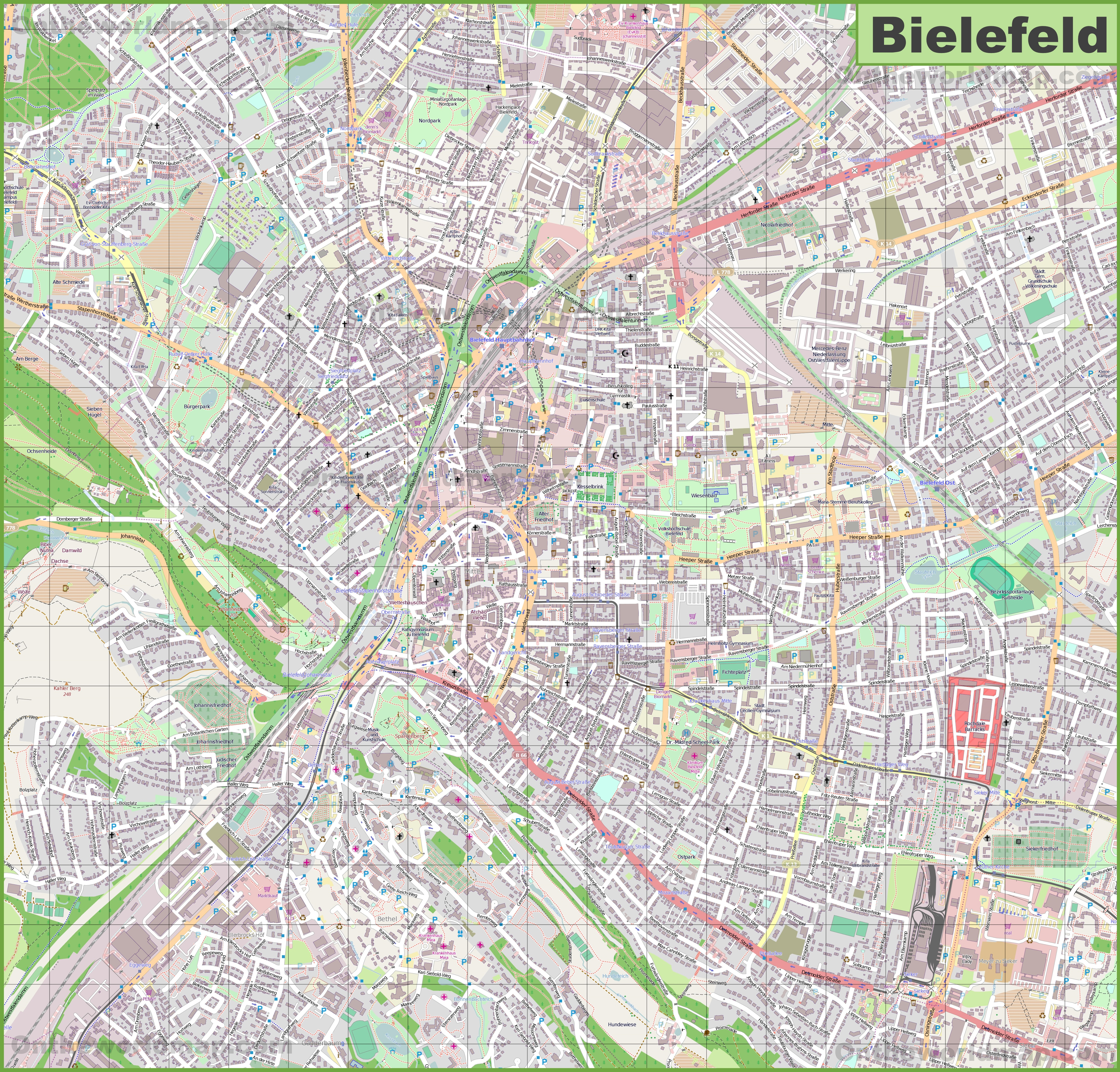 Large detailed map of Bielefeld