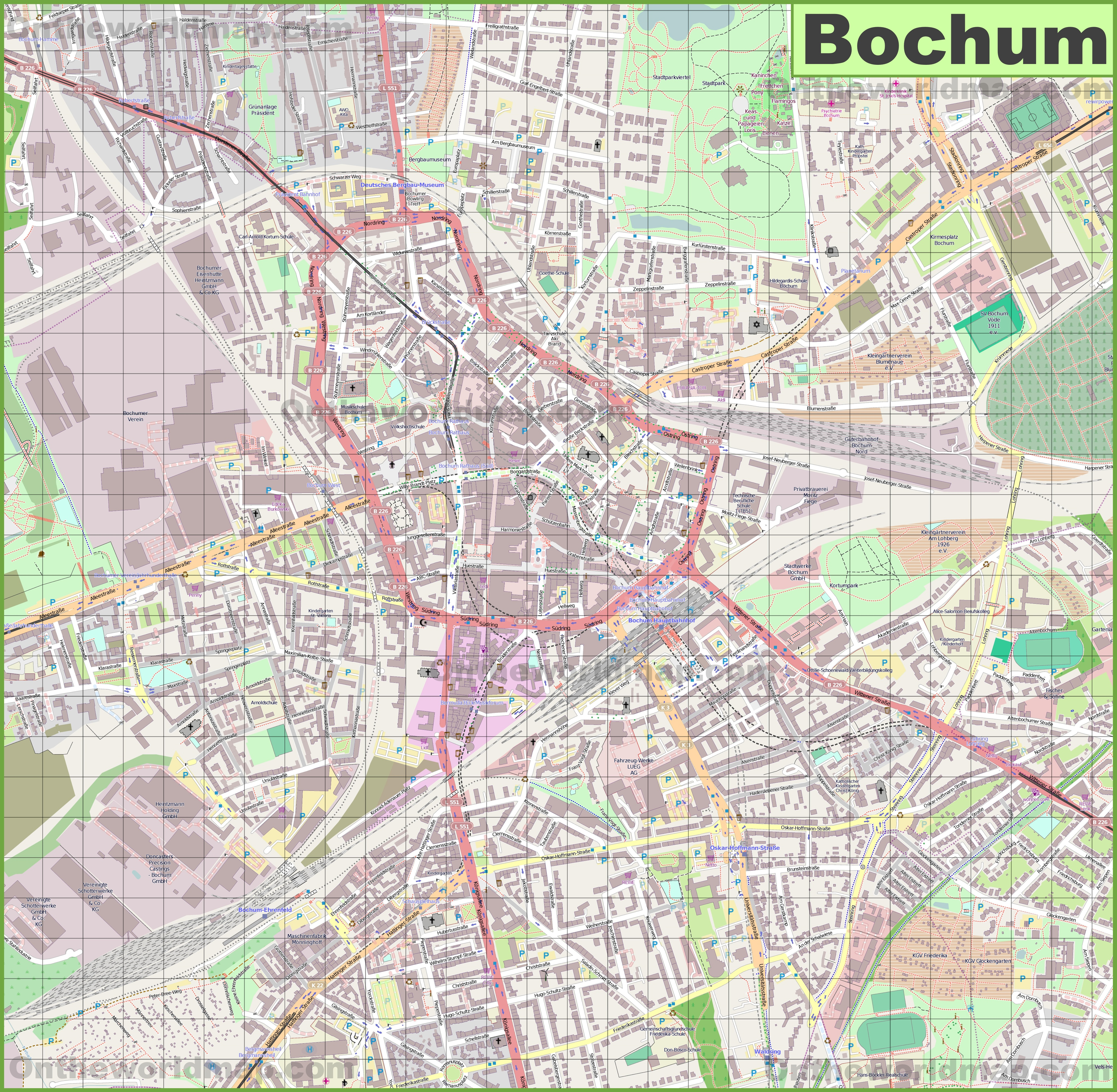 Large detailed map of Bochum
