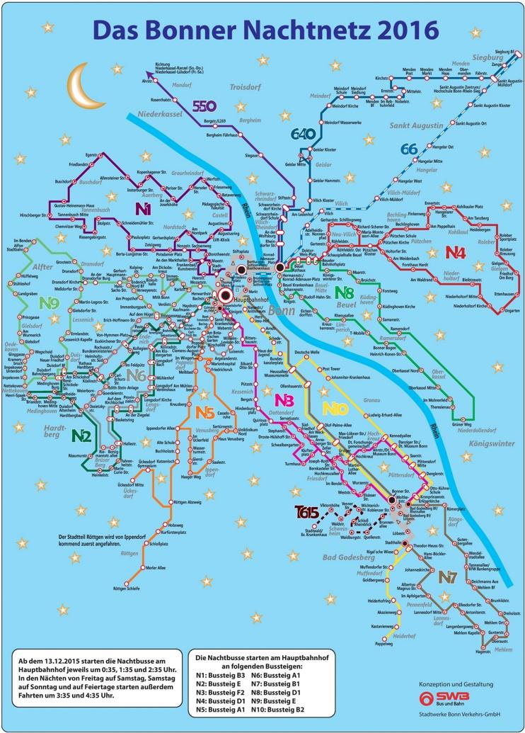 Bonn night bus map