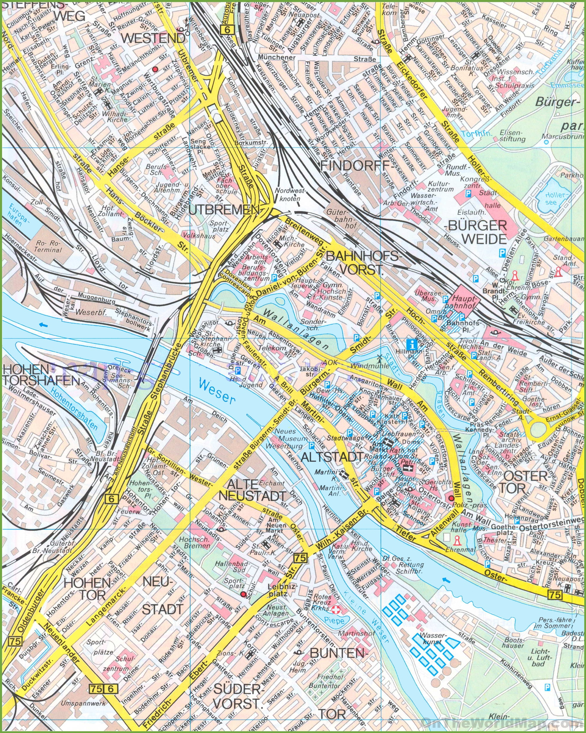 Bremen City Centre Map - Germany map bremen
