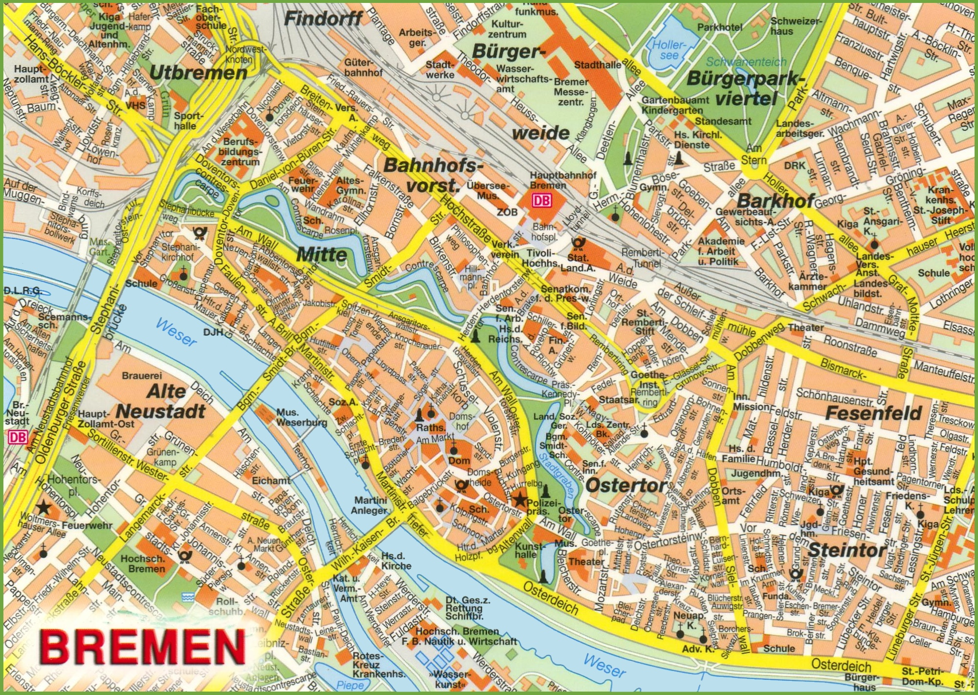 Bremen Sightseeing Map - Germany map bremen