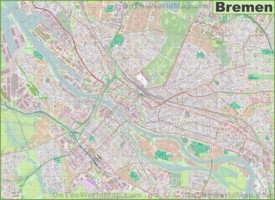 Large detailed map of Bremen