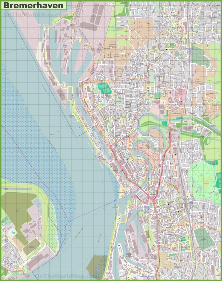 Large Detailed Map Of Bremerhaven