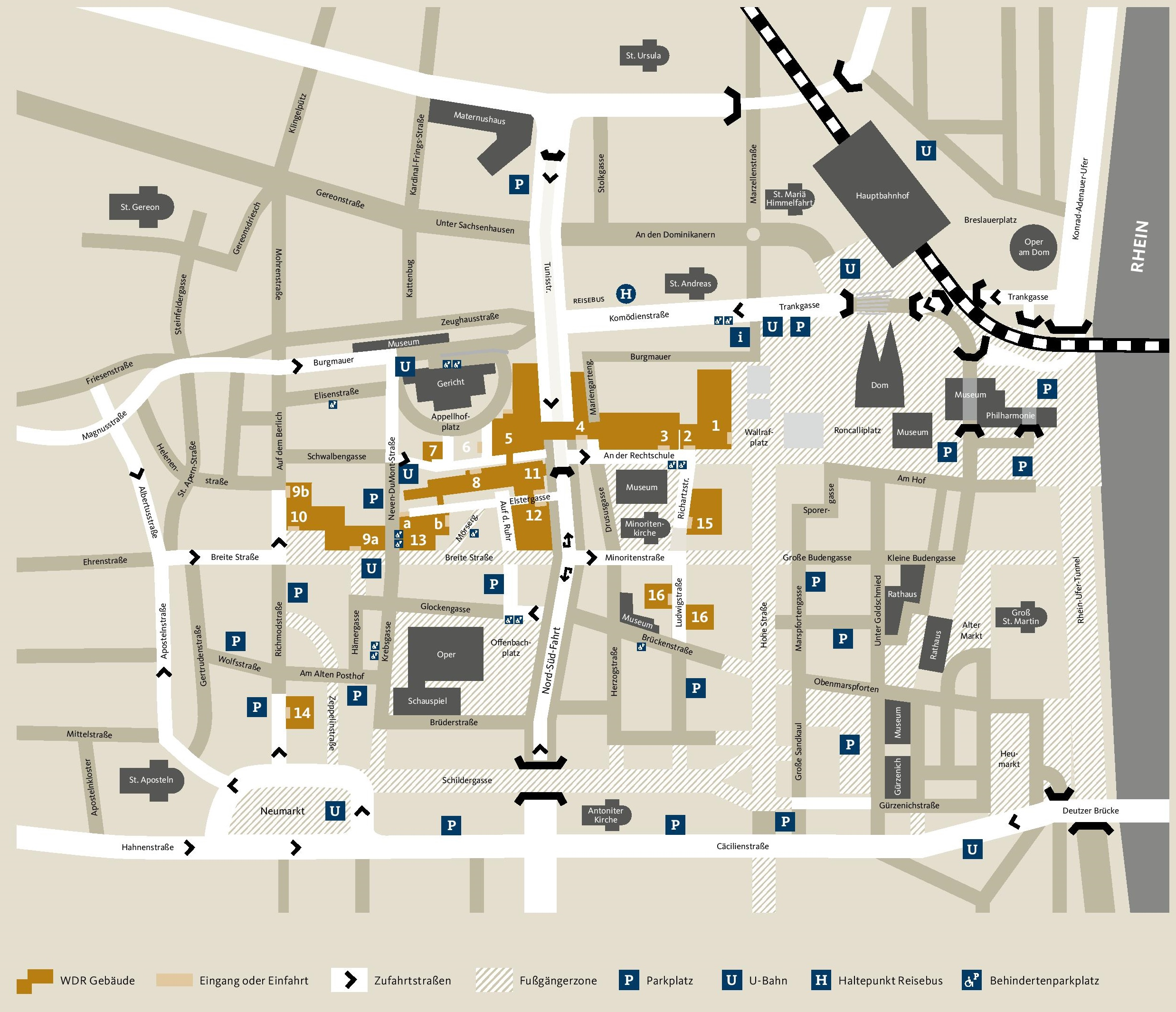 Stadtplan mit Sehenswürdigkeiten · City map with major attractions