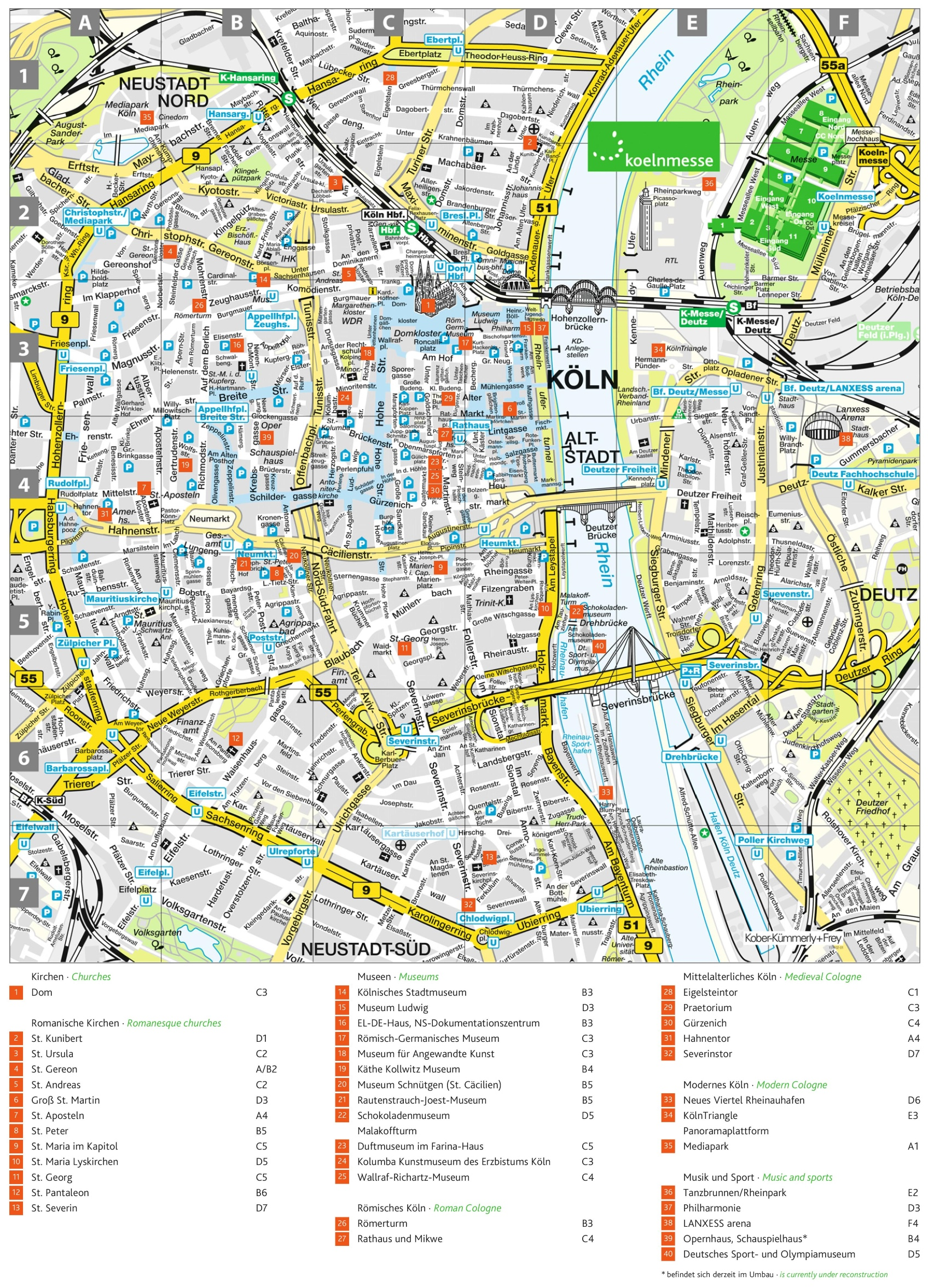 Cologne tourist attractions map – Germany Tourist Attractions Map