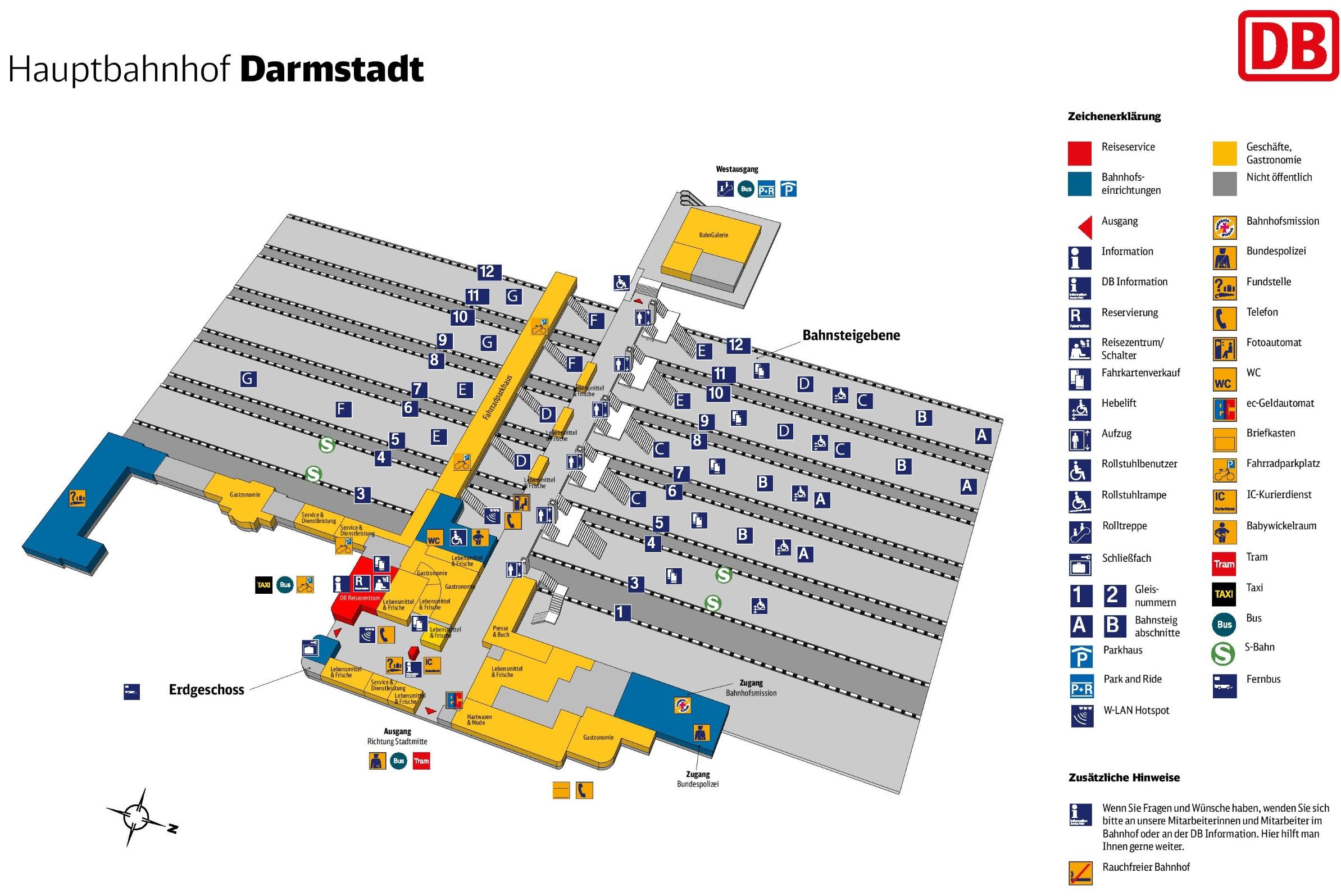 Darmstadt hauptbahnhof map