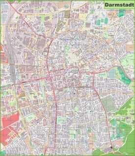 Large detailed map of Darmstadt