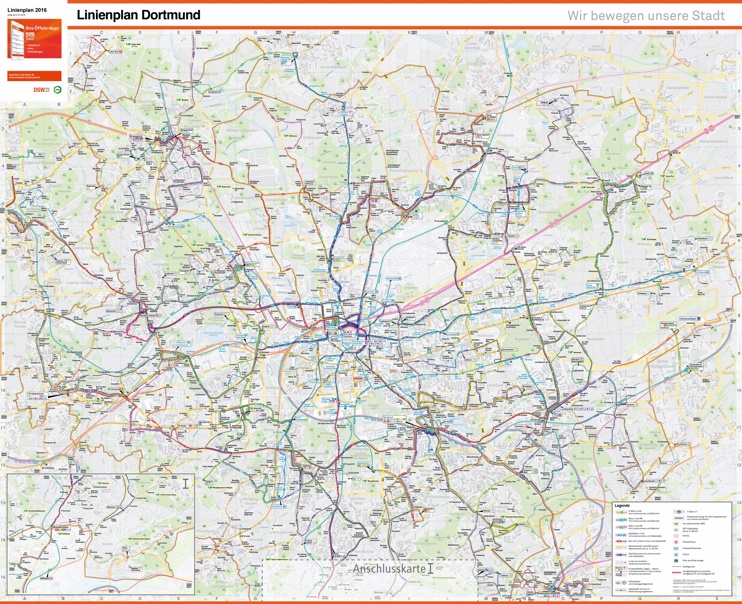 Dortmund area transport map