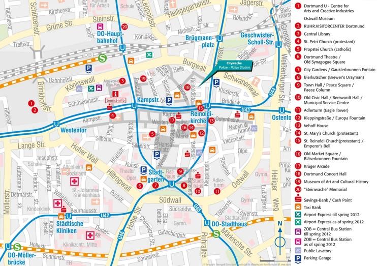 Dortmund tourist attractions map