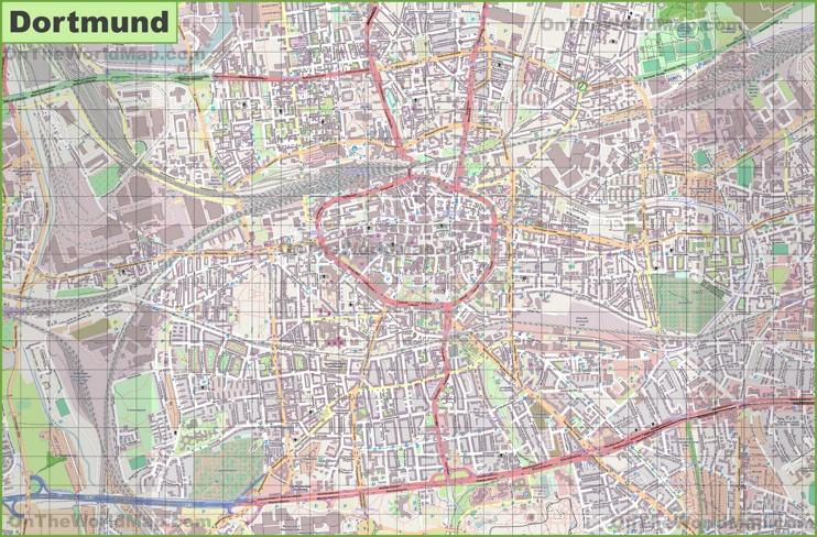 Large detailed map of Dortmund