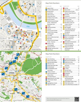Dresden hotels and sightseeings map