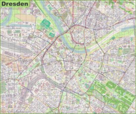 Large detailed map of Dresden