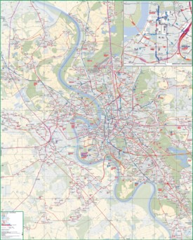 Düsseldorf area transport map
