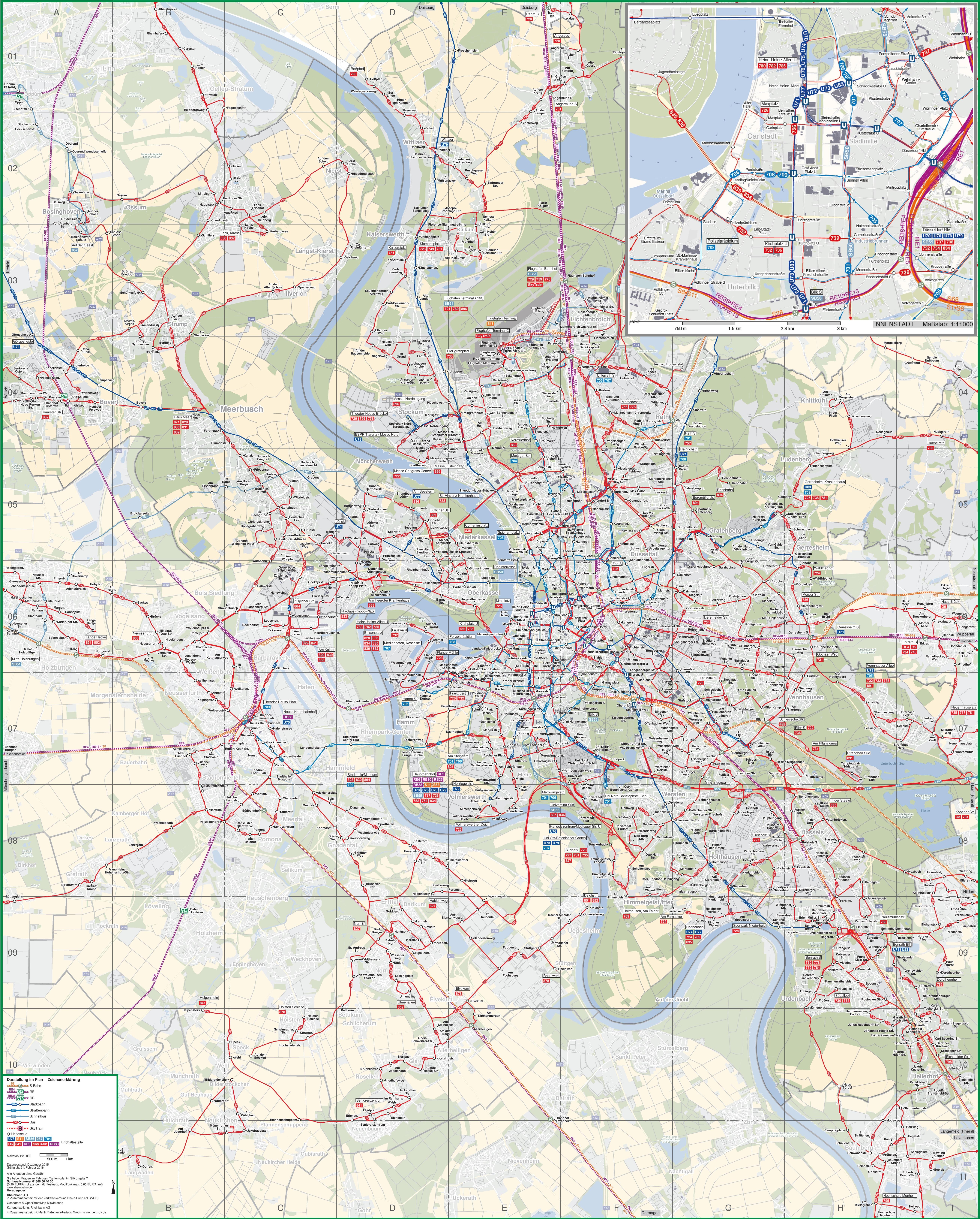 Düsseldorf Area Transport Map - Dusseldorf metro map