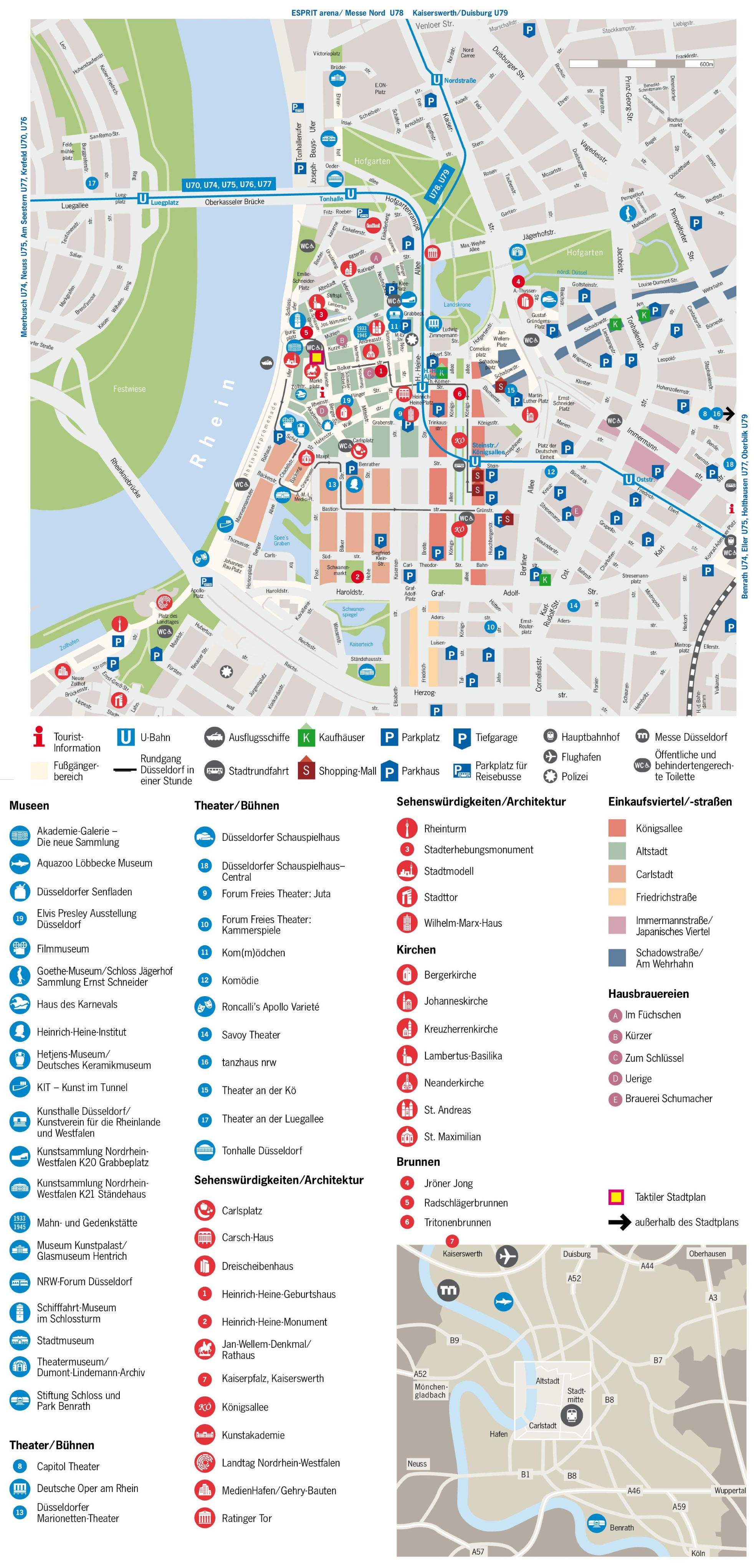 Düsseldorf tourist attractions map on