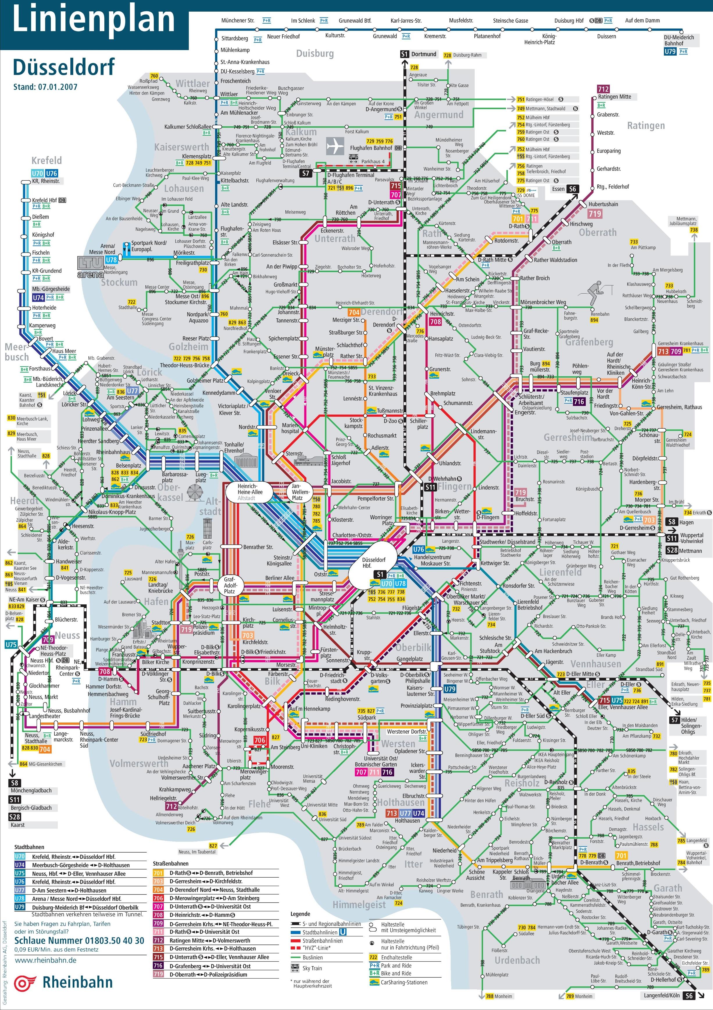 Düsseldorf Transport Map - Dusseldorf metro map